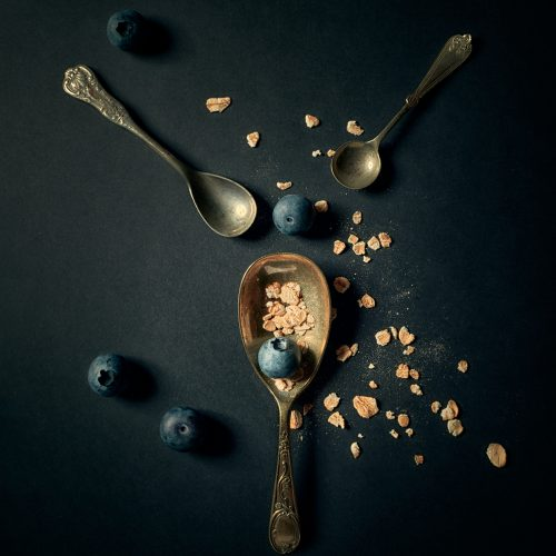Three Vintage Spoons, Blueberries and Oats, Healthy Breakfast Concept